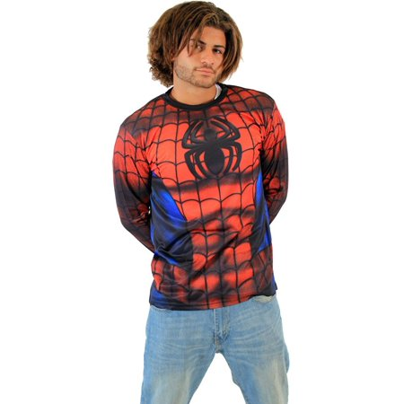Spider-Man Sublimated Long Sleeve Costume Adult T-Shirt](Spiderman Shirts)