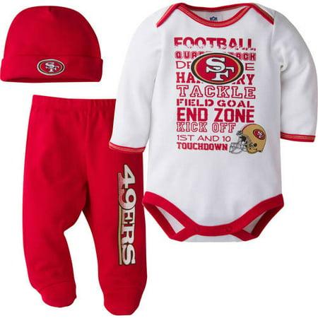 sports shoes 9ef78 bbb0e NFL San Francisco 49ers Baby Boys Bodysuit, Pant and Cap Outfit Set, 3-Piece