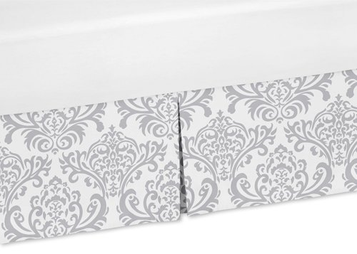 Sweet Jojo Designs Gray and White Damask Crib Bedskirt Dust Ruffle for Elizabeth, Skylar, and Avery Collection... by Sweet Jojo Designs