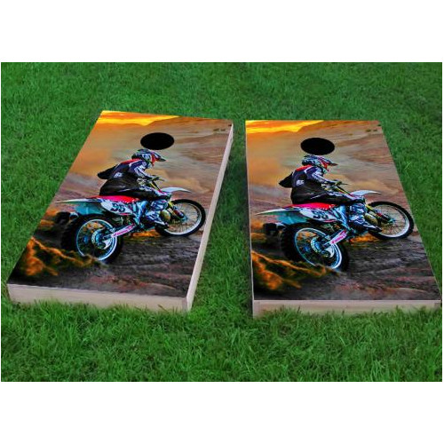 Custom Cornhole Boards Riding Dirtbikes Cornhole Game (Set of 2) by Custom Cornhole Boards