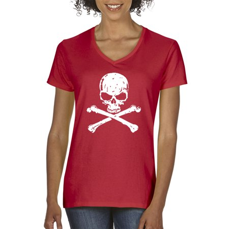 New Way 735 - Women's V-Neck T-Shirt Skull Crossbones Pirate Poison Death (Woman Pirate Shirt)