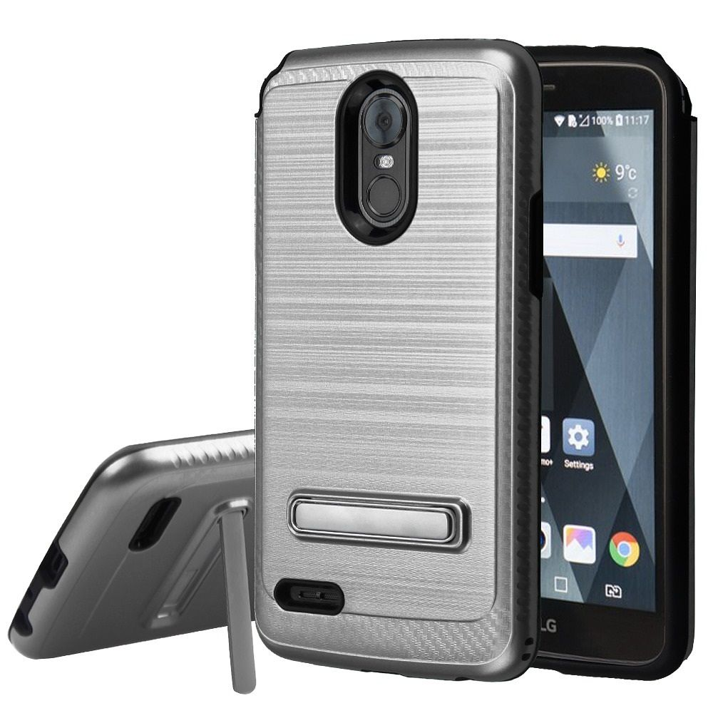 LG Stylo 3 Case, LG Stylo 3 Plus Case, by Insten Carbon Fiber Accent Dual Layer Hybrid Stand Brushed PC/TPU Rubber Case Cover for LG Stylo 3 LS777/K10 Pro/Stylus 3/Stylo 3 Plus - Black - image 3 de 3