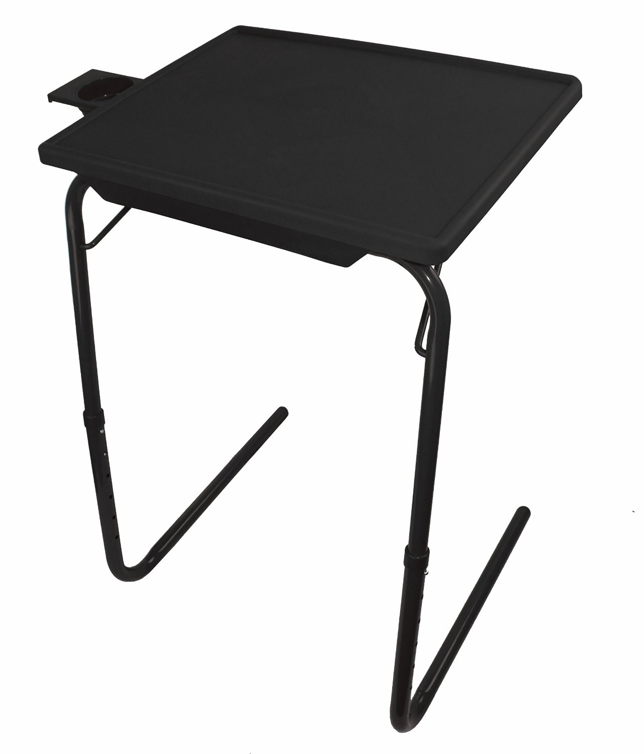 Portable Foldable Comfortable Tv Tray Table W Cup Holder White
