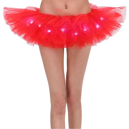 Adult LED Tutu Light Mesh Petticoat Dance Rave Tutu Skirt for 80s Costume Party - Rave Tutus