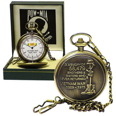 POW MIA Vietnam War Memorial Bronze-Finish Metal Pocket Watch With Gift Box