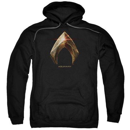 Trevco JUSTICE LEAGUE MOVIE AQUAMAN LOGO Large Black Adult Unisex Hooded Sweatshirt