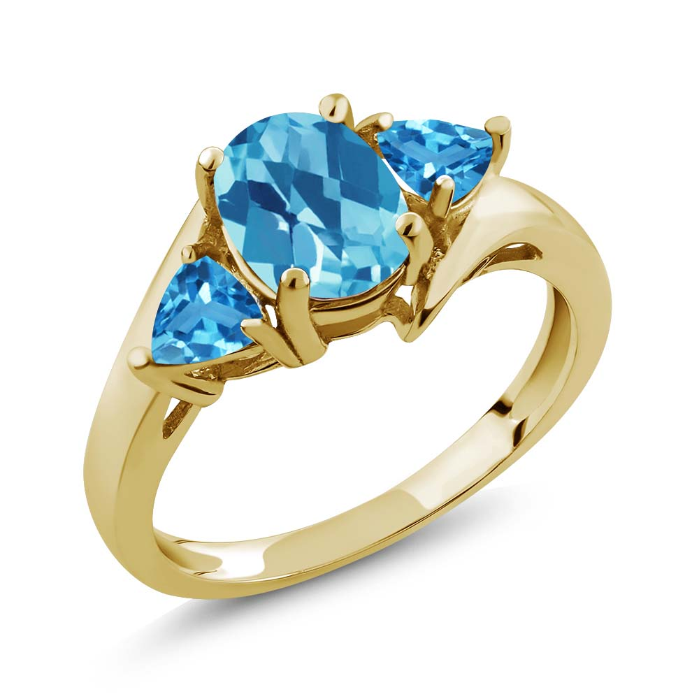 2.16 Ct Checkerboard Swiss Blue Topaz Gold Plated Sterling Silver Ring
