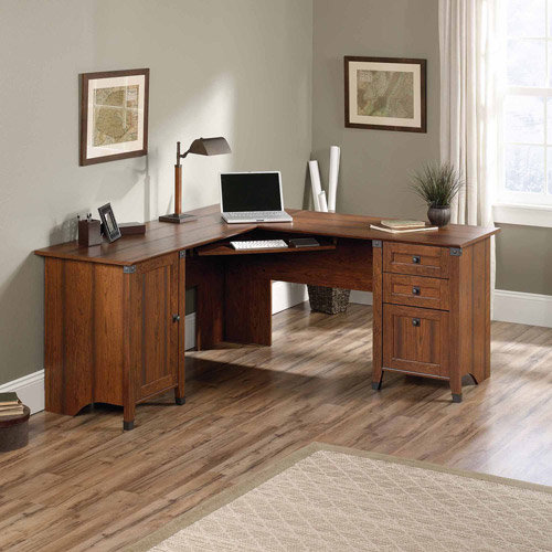 sauder carson forge corner computer desk washington cherry