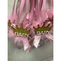"""Charmed """"Little Prince/Princess"""" Baby Shower Cute Pacifire Necklace Party Favors; Pink/Gold; 12 pieces; 1"""""""