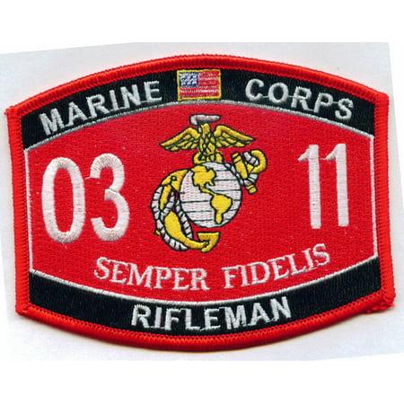 USMC MARINE CORPS 0311 RIFLEMAN PATCH VETERAN MOS SEMPER FI GRUNT