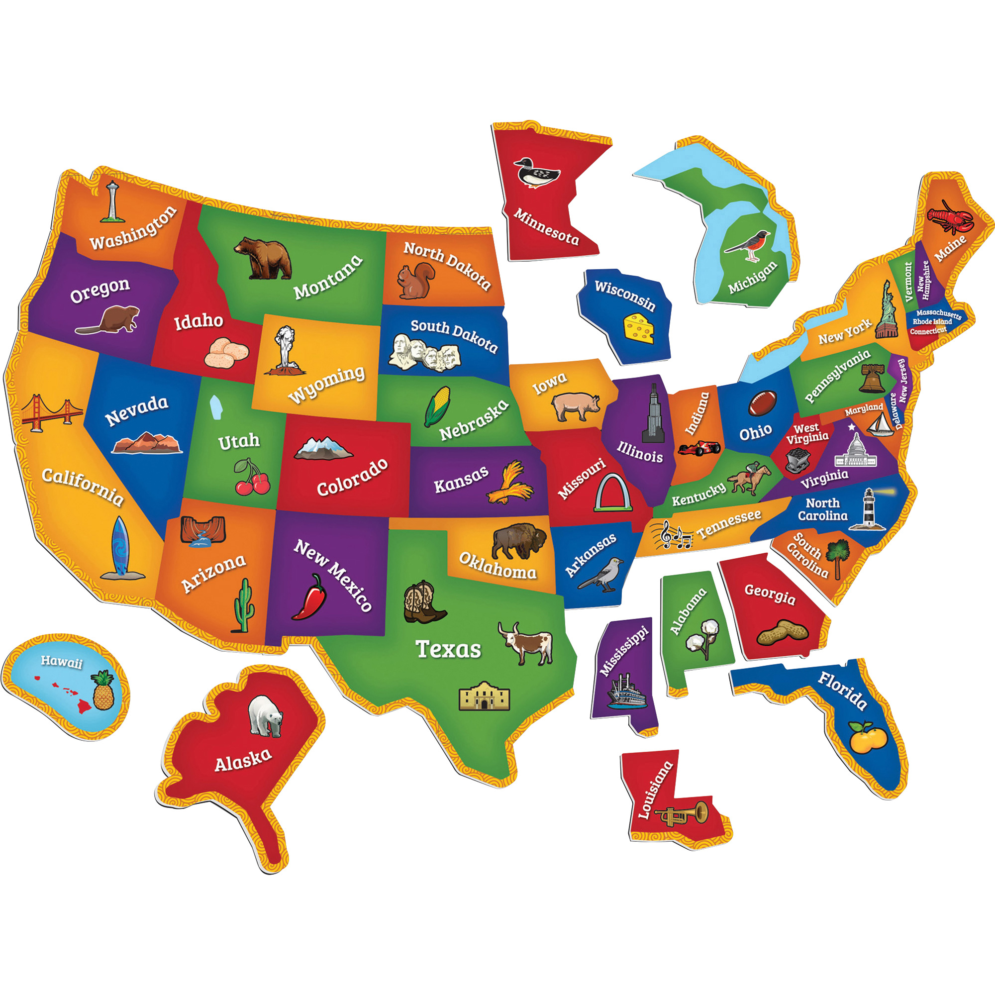 Learning Essentials Magnetic U S Map Puzzle 44 Pcs Walmart Com