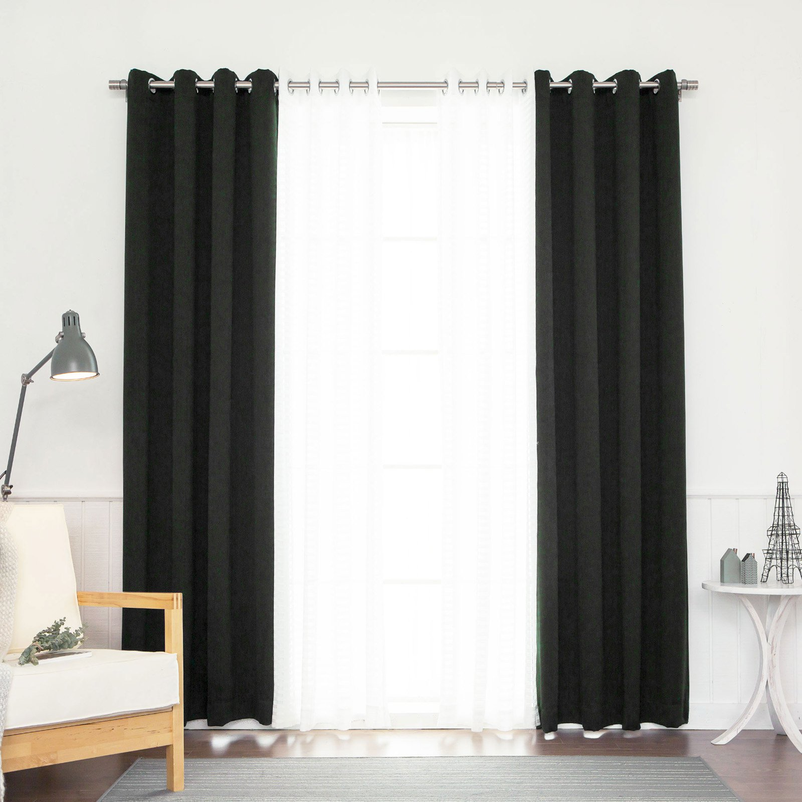 Best Home Fashion Coco Sheer and Solid Blackout Mix & Match Curtain Set - Set of 4