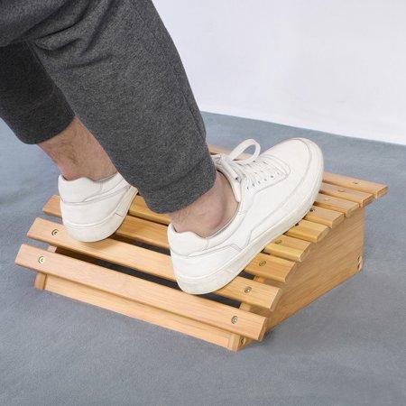 无 Footrest , Foot Stool,Ergonomic Bamboo Footrest Foot Stool Under Desk Footrest with Massager Rollers for Office Home - image 7 de 8