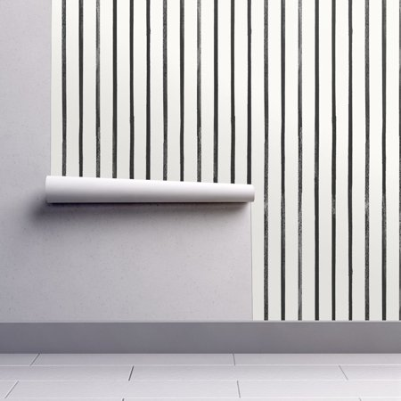 Peel-and-Stick Removable Wallpaper Thin Stripes Thin Black Vertical Stripes Thin