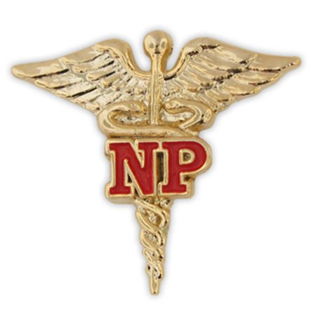 Nurse Practitioner Red NP Gold Caduceus Lapel - Pin Up Nurses