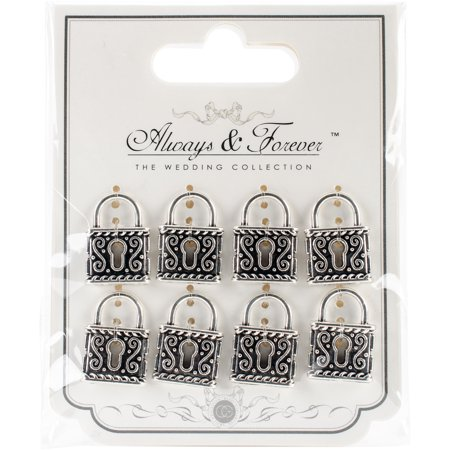 Craft Consortium Always & Forever Vintage Metal Charms 8/Pkg-Silver Locks 22mmX17mm