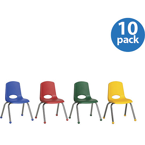 "Stackable 10"" School Chairs, Assorted Colors, Set of 10"