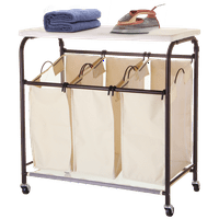 Product Image Mllieroo Mobile 3 Bag Heavy Duty Laundry Hamper Sorter Cart W Ironing Board