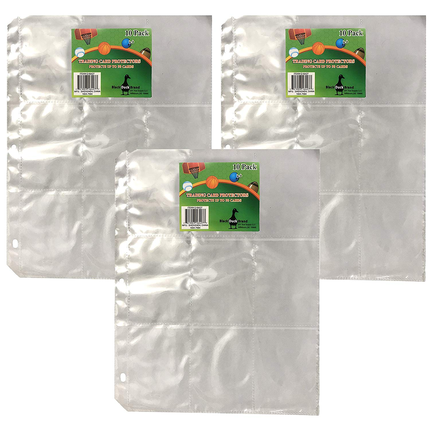 Trading Card Protector Sheets 9 Pocket X 30 Plastic Pages
