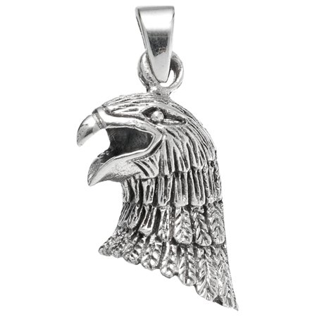Eagle Head with Open Mouth Sterling Silver - Silver Eagle Head