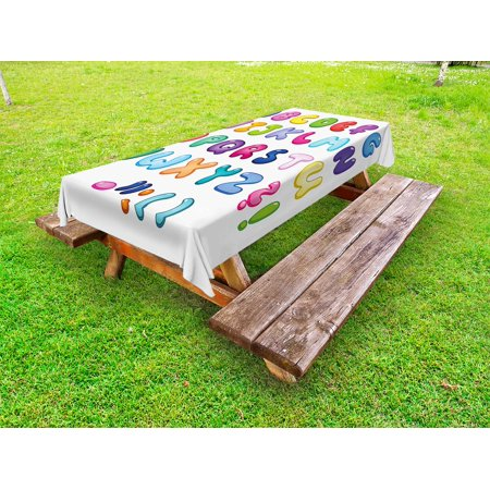 Letters Outdoor Tablecloth, Bubble Shaped 3D Style Alphabet Set Colorful Kids Children Design Comic Typeset, Decorative Washable Fabric Picnic Table Cloth, 58 X 84 Inches,Multicolor, by Ambesonne](Bubble Letter Alphabet)