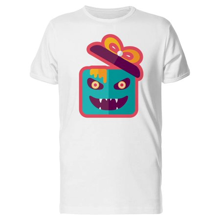 Gift Box With Creepy Face Tee Men's -Image by Shutterstock