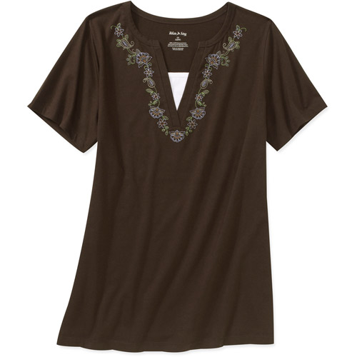 White Stag Women's Plus-Size 2fer Tee with Embroidery