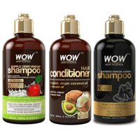 WOW Apple Cider Vinegar Shampoo and Coconut Avocado Hair Conditioner with Charcoal Shampoo (3x 500ml)