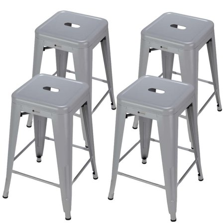 Homegear 4 Pack Stackable Metal Kitchen Stools / Chairs Silver ()