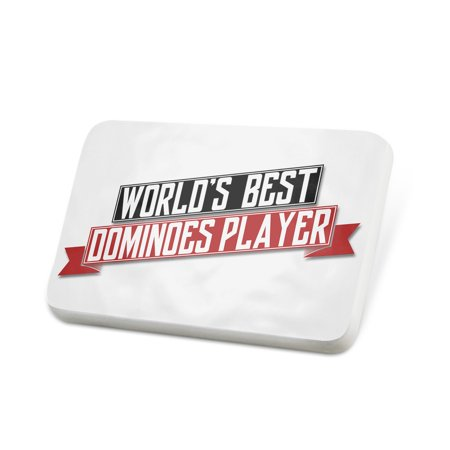 Porcelein Pin Worlds Best Dominoes Player Lapel Badge –