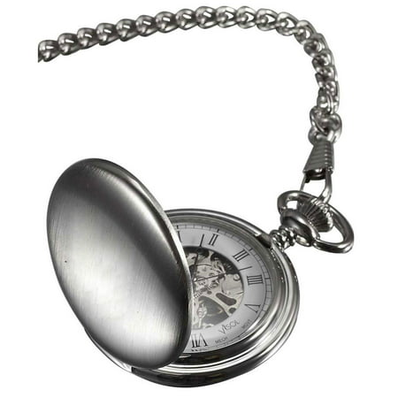 Visol VPW004 Quinn Brushed Chrome Mechanical Pocket Watch Date White Pocket Watch