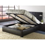 Upholstered King Size Lucca Storage Bed, Chocolate Leather