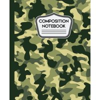 "Composition Notebook: Green and Tan Camouflage Camo Pattern 7.5"" X 9.25"" - 100 Wide Ruled Pages (Paperback)"