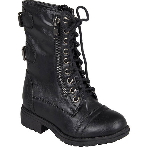 Brinley Co. Kids Lace-up Buckle Detail Boots