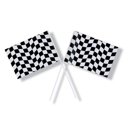 Club Pack of 48 Race Track Black and White Checkered Flag Party Decorations 9.25