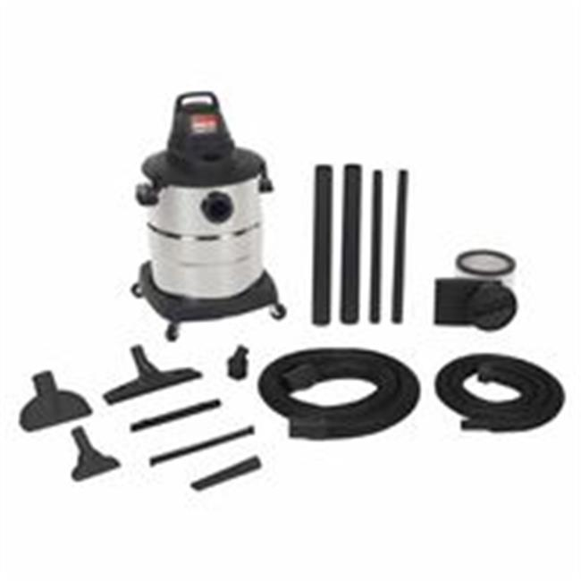 Shop-Vac 677-6000210 Industrial Single-Stage Wet & Dry Vacuum With Accessories, 7 ft.  Hose, 9 A - 10 gal.