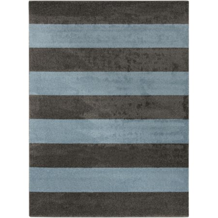 7 75 X 10 25 Bold Stripes Ocean Blue And Dusky Gray Shed Free Area Throw Rug