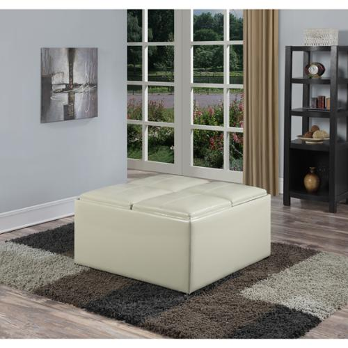 WYNDENHALL Franklin Square Coffee Table Storage Ottoman with 4 Serving Trays Satin Cream