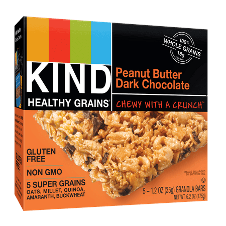 (2 Pack) KIND Healthy Grains Granola Bar, Peanut Butter Dark Chocolate, 5 Bars, Gluten Free, Healthy Grains Bars