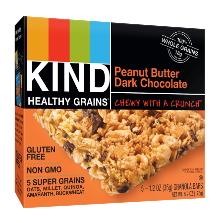 (2 Pack) KIND Healthy Grains Granola Bar, Peanut Butter Dark Chocolate, 5 Bars, Gluten Free, Healthy Grains