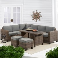 Better Homes & Gardens Brookbury 5-Piece Patio Wicker Sectional Set with Gray Cushions