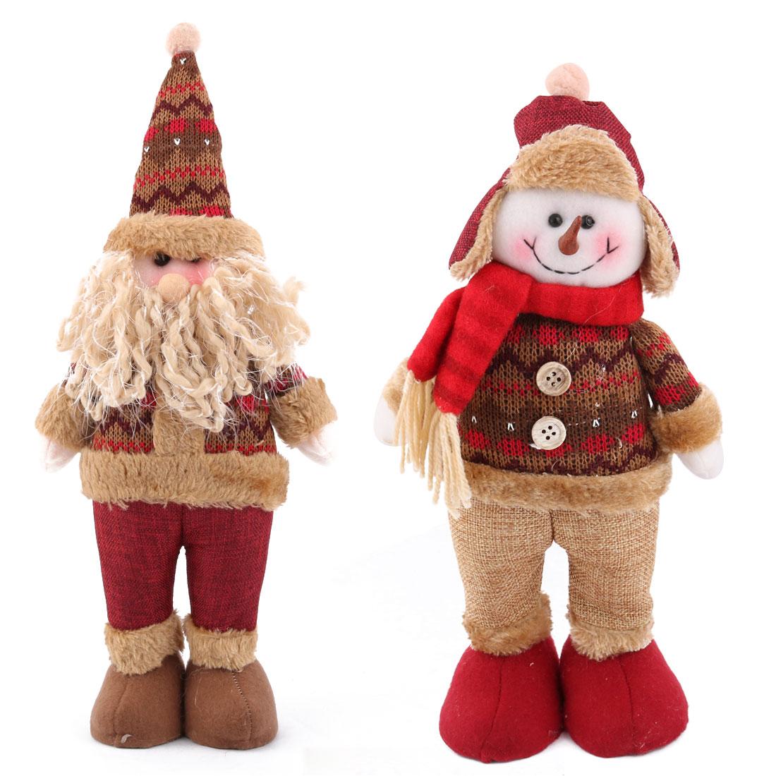 Unique Bargains Christmas Cotton Blends Santa Claus Snowman Design Toy Gift 2 in 1