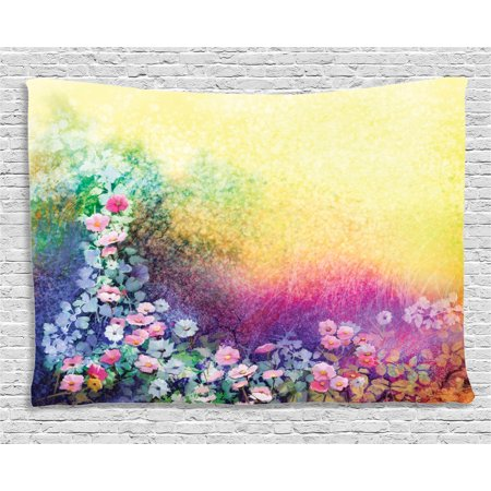 Watercolor Flower Home Decor Tapestry, Ivy Floral Beauty in Spring Soft Natural Paradise Print, Wall Hanging for Bedroom Living Room Dorm Decor, 60W X 40L Inches, Purple Yellow, by Ambesonne (Flora Tapestry Wall Hanging)