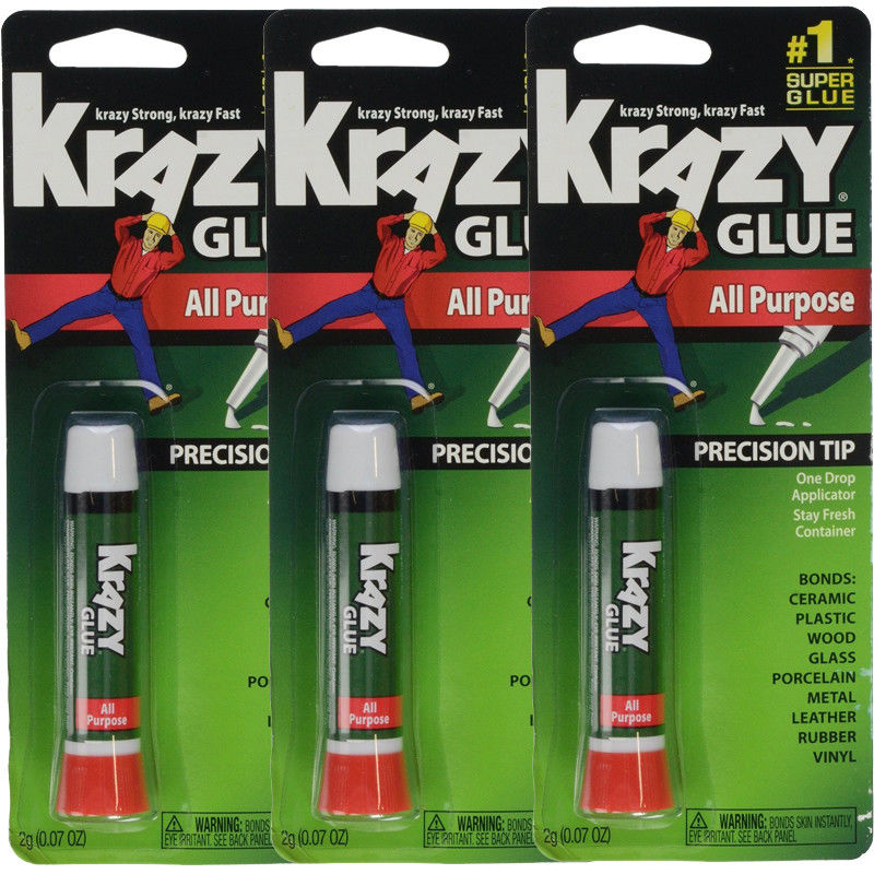 3 Pack Krazy Glue Instant Fast Drying All Purpose Glue, .07 oz