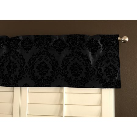- flocking damask taffeta window valance 56 wide black on black