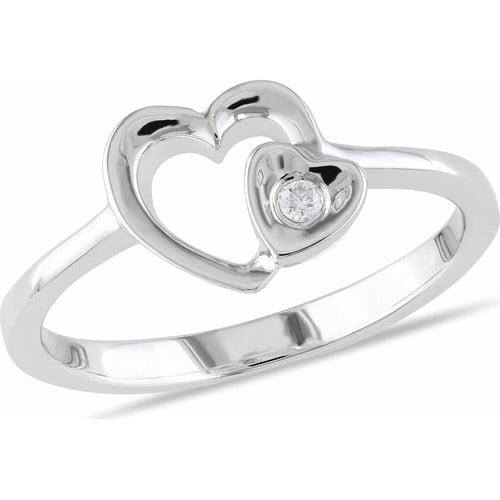 Miabella Diamond Accent Sterling Silver Double-Heart Ring