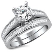 Noori Collection Noori 14k White Gold 1 3/4ct Round Princess Cut Diamond Engagement Ring Set