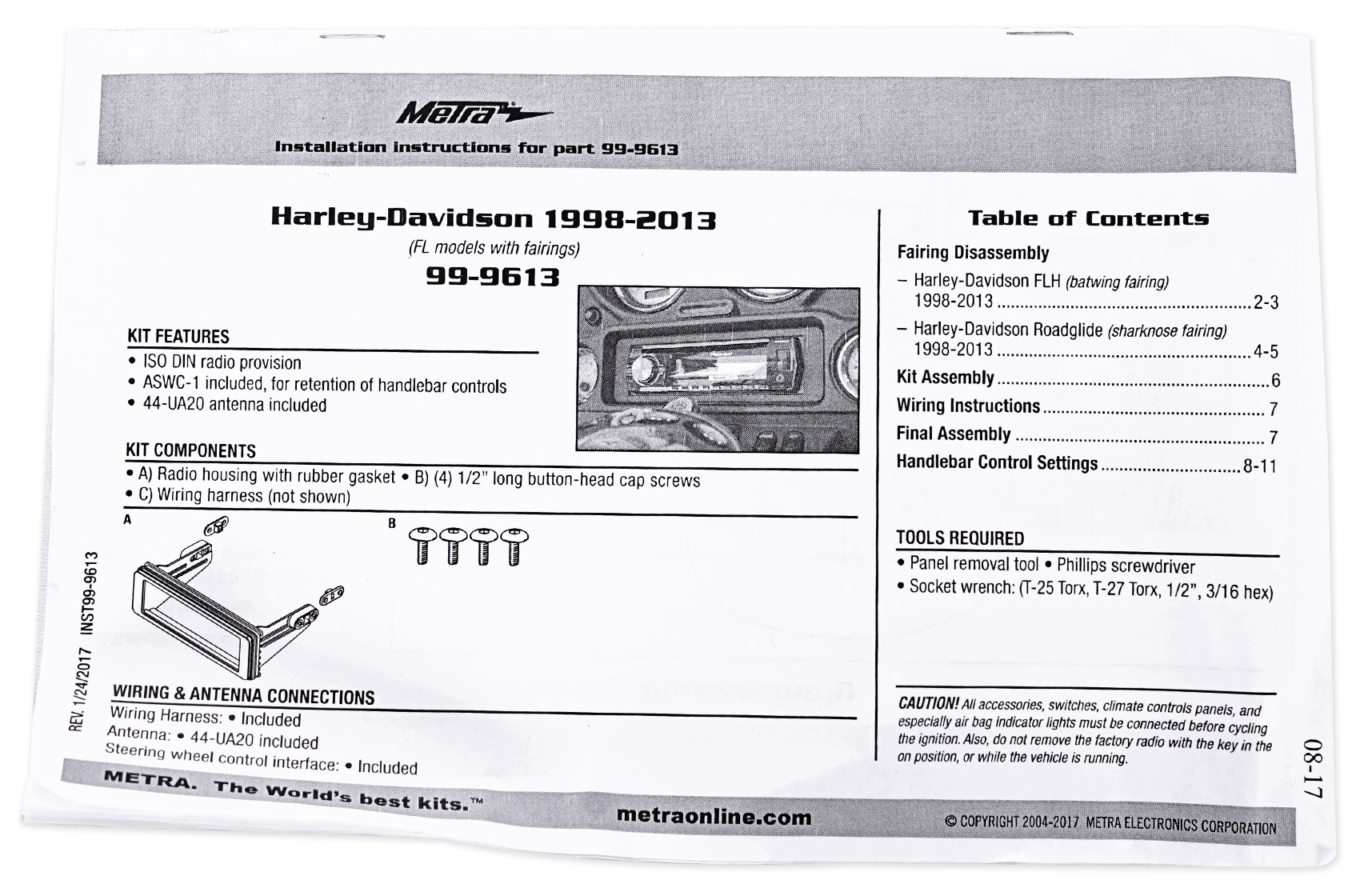 metra 99-9613 complete motorcycle dash install kit harley davidson on  harley wiring diagram for