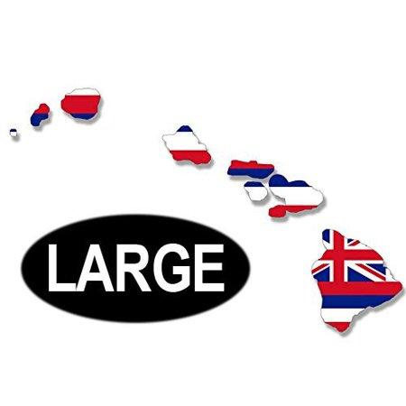 LARGE Hawaiian Islands Shaped HAWAII STATE FLAG Sticker Decal (for car window) 7 x 11 inch ()
