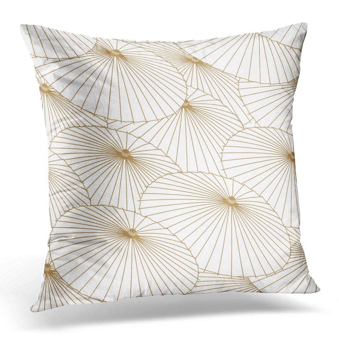 USART White Asian Japanese Pattern Gold Umbrella for Page Design Chinese Pillow Case Pillow Cover 20x20 inch